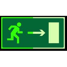 """Знак """"Направление к эвакуационному выходу направо фотолюм."""""""