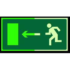 """Знак """"Направление к эвакуационному выходу налево фотолюм."""""""
