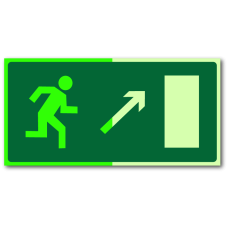 """Знак """"Направление к эвакуационному выходу направо вверх фотолюм."""""""