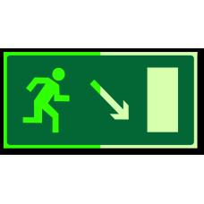 """Знак """"Направление к эвакуационному выходу направо вниз фотолюм."""""""