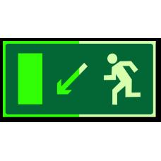 """Знак """"Направление к эвакуационному выходу налево вниз фотолюм."""""""