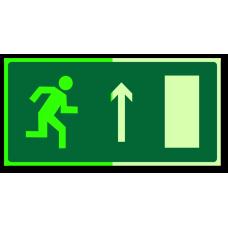 """Знак """"Направление к эвакуационному выходу прямо (правосторонний) фотолюм."""""""