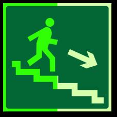 """Знак """"Направление к эвакуационному выходу по лестнице вниз (левосторонний) фотолюм."""""""