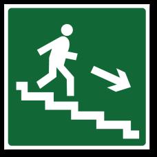 """Знак """"Направление к эвакуационному выходу по лестнице вниз"""""""