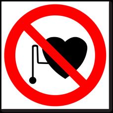 """Знак """"Запрещается работа (присутствие) людей со стимуляторами сердечной деятельности"""""""