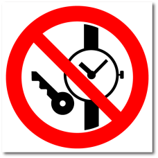 """Знак """"Запрещается иметь при (на) себе металлические предметы (часы и т.п.)"""""""