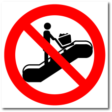 """Знак """"Запрещается заходить на эскалатор с торговыми тележками"""""""
