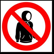 """Знак """"Вход в одетом капюшоне запрещен"""""""