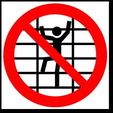 """Знак """"Запрещается лазить по стеллажам"""""""